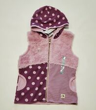 Naartjie Vest Fluffy Polka Dot Lilacy Purple Hooded Zip 7 yrs New Girl Button XL