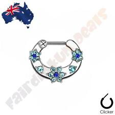 316L Surgical Steel Septum Clicker Ring with Blue Cubic Zirconia Gem Flowers