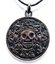 Pirate of Carribean Pendant, Pirate Skull Aztec Coin Pendant 925 Sterling Silver