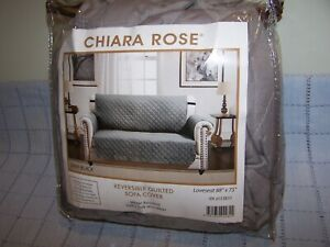 Chiara Rose Reversible Furniture Protector Quilted Brown Sofa Cover 88 x 74 New