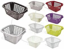 ADDIS PLASTIC RECTANGULAR SQUARE LAUNDRY STORAGE BASKET WITH CARRY HANDLE