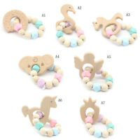 Baby Wooden Teether Animal Shape Chew Beads Teething Toy Baby Nursing BraceletTO