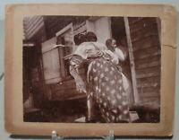 VINTAGE ORIGINAL BLACK AMERICANA PHOTO LATE 19TH CENTURY NORTH CAROLINA CABIN