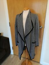 Ladies LAURA ASHLEY Cardigan Size 10 Black Ivory Draped Lagenlook Smart Casual