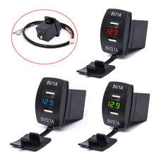 12 V Dual USB Charger Socket Voltage LED Voltmeter Rocker Switch Panel Car Boat