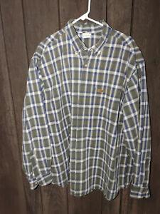 Carhartt Button down  Shirt Mens Size 2XL blue plaid 100% cotton long Sleeves