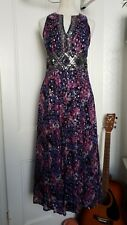 Monsoon Size 8 Purple Pink Silver Sequinned Maxi Cruise Occasion Prom Dress