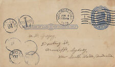 Stamp USA 1 cent blue pre-printed McKinley postcard 1912 to Sydney taxed Seattle