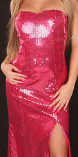 Celebrity Ladies Womans Sequin Long Party Evening Inspired Cocktail Dress 8 Red