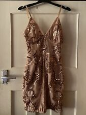 PRETTY LITTLE THING NUDE NATURAL & ROSE GOLD SEQUIN DRESS SIZE 6 - BNWT