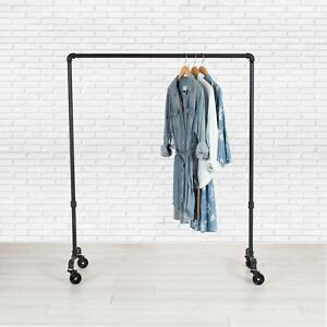 "Industrial Pipe Rolling Clothing Rack by William Robert's Vintage - 36"" Wide"
