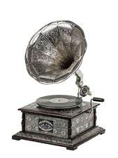 Mechanische Musik Grammophon Graviert Ziseliert Rund Metallic Silber Optik Geschenk Dekoration