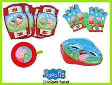 """Set """"Peppa Pig"""" bimba / CASCO + CAMPANELLO + GOMITIERE + GUANTI bicicletta"""