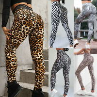 Women High Waist Yoga  Pants Gym Leggings Cheetah Running Stretch Sports Workout