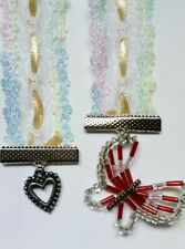 1 x lace and Ribbon soft bookmark red hand beaded butterfly and heart charm (T4)
