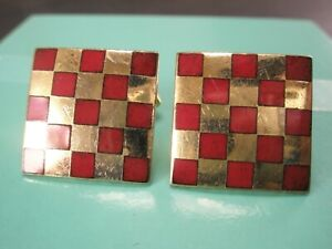 -Checkerboard Red & Gold Tone Quality Vintage ANSON Cuff Links simple plain
