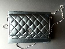 CHANEL 100% Authentic Black Quilted Lambskin Leather Wallet On A Chain WOC?