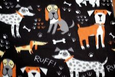 LARGE DOGS, BONES RUFF! ON BLACK BACKGROUND FLEECE MATERIAL1/ 2 YDS 60 X 18""