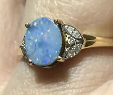 Unusual Boulder Opal on Ironstone Ring 10k gold Size 8