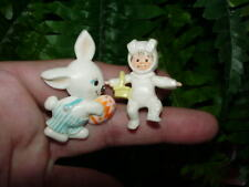 (2) 1974 HALLMARK EASTER PINS - Child In Bunny Suit + Bunny w Egg - early HTF