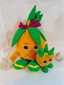 """Dole Piney Pals 1992 Plush Stuffed Toy Blossom and Bamboo Pineapple 7"""" Green"""