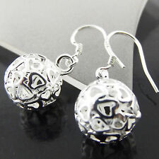 EARRINGS DROPS GENUINE REAL 925 STERLING SILVER S/F ANTIQUE FILIGREE BEAD DESIGN