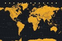 WORLD MAP - CONTEMPORARY BLACK & GOLD POSTER (61X91CM) NEW WALL ART