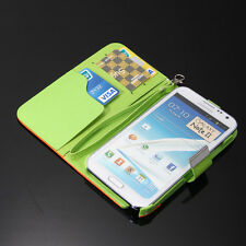 PU Leather Card Flip Wallet Case Cover Wristlet Stand for Samsung Galaxy Note 2