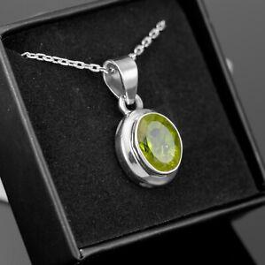 Sterling Silver 925 Green Peridot Cut Gemstone Pendant Necklace Ladies Jewellery