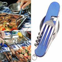 4 in1 Multi-Function Folding Spoon Fork Knife Bottle Opener Set Stainless Steel