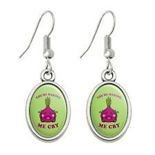 You're Making Me Cry Onion Funny Humor Novelty Dangling Drop Oval Charm Earrings