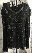 Vintage Laurence Kazar Silk Sequin Bling Beaded Top Blouse Black Long Sleeve XL
