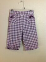 Janie And Jack Baby Infant Girl Pants Size 3-6 Months Purple Plaid