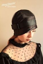 1920s 30s FLAPPER CLOCHE HAT black satin BOW SMALL Gatsby Anna Chocola millinery