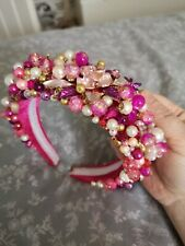 Pink Jewelled Headband Headpiece Wedding Races Made Bespoke To Match Outfit