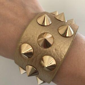 Gold Studded Faux Leather Biker Goth Punk Grunge Style Wrist Cuff Bracelet