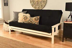Antique White Finish Victoria Futon Frame Suede Mattress Sofa Bed Set (Black)