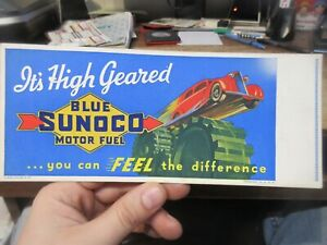 1937 Vintage Old Advertising Blotter Pad Blue Sunoco Gas Station Fuel Oil Cars