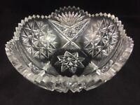 "Antique ABP American Brilliant Period Cut Glass CYPRESS Pattern 8"" Bowl"