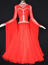 Women Ballroom Competition Dance Dress Red Mesh Top Waltz Smooth Gown Free Size