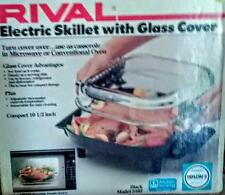"""USA Rival Model 5102 Electric Skillet 10 1/2""""  Glass Lid-NEW IN THE BOX COMPACT"""