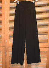 HERMES Black Virgin Wool Wide High Waist Wide Leg Dress Pants Sz Small 38 EUC