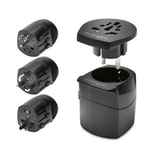 Kensington International Travel Adapter Grounded (3-Prong) Black Wall Chargers
