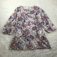 CHICO'S Women's Size 1 (Medium) Top White Red Blue Floral Semi-Sheer Hippie Boho