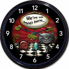 """Alice in Wonderland Mad Hatter We're All Mad Cheshire Cat Wall Clock UK New 10"""""""