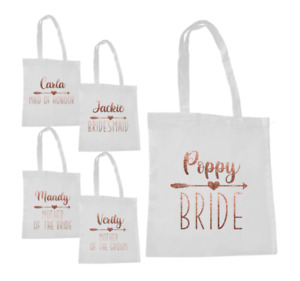 Personalised Wedding Hen Party Tote Bag Bridal Gift Favour Rose Gold Glitter