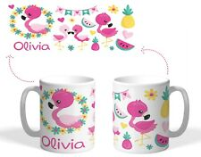 Personalised Printed Plastic or ceramic mug childs cute flamingo Easter gift