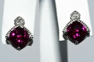 2.22CT CHECKERBOARD CUSHION RED RUBY & DIAMOND TWO-STONE STUD EARRINGS 10K GOLD