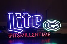 "New Miller Lite Green Bay Packers Beer Real Glass Neon Sign LxWxH = 32""x 8""x16"""
