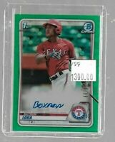 Bayron Lora 2020 Bowman Chrome Green Refractor Rookie Autograph #66/99--Rangers